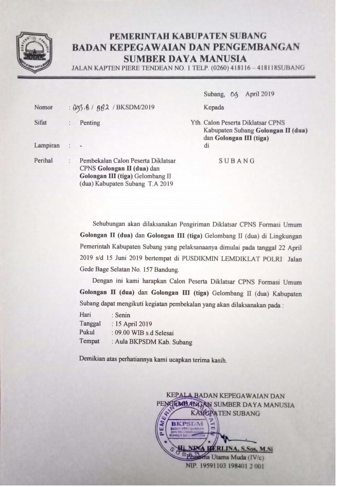 Jadwal pembekalan calon peserta Diklatsar CPNS Golongan II (dua) dan Golongan III (tiga) Gelombang II (dua)